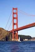 Golden gate bridge from the Pacific ocean — Stock Photo