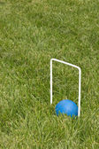 Croquet ball sitting under a hoop — 图库照片