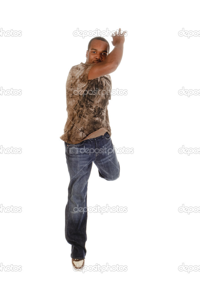 African american man break-dancing isolated over a white background — Stock Photo #11034788