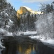 Stock Photo: Alpenglow on granite peaks in Yosemite valley