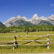 A pastoral scene on a ranch at the base of the Tetons — Stock Photo