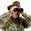 Hunter with binoculars — Stock Photo