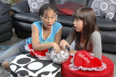Cute african american girl with caucasian girl freind — Foto Stock