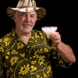 Man with a fu man chu mustache, hat and Margarita - Stock Photo