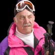 Baby-boomer skier — Stock Photo