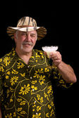 Man with a fu man chu mustache, hat and Margarita — Stock Photo