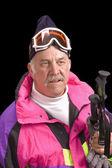 Baby-boomer skier — Stock Photo