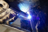 Closeup of welder — Stock Photo
