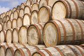 Barrels in the distillery — Stock Photo