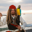 Pirate with a parrot — Stock Photo