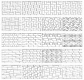 Collection textures of the brickwork for drawing in landscape design — Stock Vector