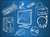 Plan directeur de matériel informatique - périphériques — Vecteur