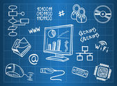 Blueprint of computer hardware and information technology symbols — Stockvector
