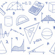 Mathematics - school supplies, geometric shapes and expressions - Stock Vector