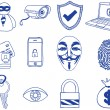 Security and hacking  - hand-drawn icons — Stock Vector