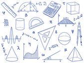 数学-学校用品、 几何形状和表达式 — 图库矢量图片