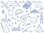 Wiskunde - school supplies, geometrische vormen en expressies — Stockvector