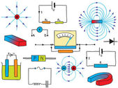 物理-电和磁现象φυσική - ηλεκτρικής ενέργειας και μαγνητισμός φαινόμενα — 图库矢量图片