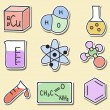 Illustration of chemistry icons - stickers — Imagen vectorial