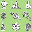 Illustration of science icons - stickers — Stock Vector