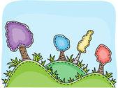 Ilustración del paisaje - árboles en las colinas — Vector de stock