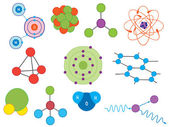 Illustration of atoms and molecules — Stock Vector