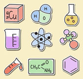 Illustration of chemistry icons - stickers — Stock Vector