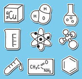 PrintIllustration of chemistry icons -stickers — Stock Vector