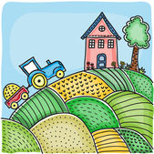 Illustration of agricultural fields, house on hill and tractor — Stock Vector