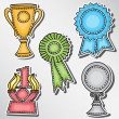 Trophies and awards set - stickers — Stock Vector