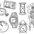 Set of clocks and watches — Stock Vector