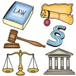 Illustration of judicial icons — Stock Vector
