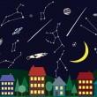 Illustration of night sky above the city — Stock Vector