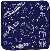 Astronomia - spazio e notte cielo oggetti — Vettoriale Stock