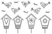 Birds and birdhouses — Stockvector