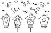 Ptáci a ptačí budky — Stock vektor