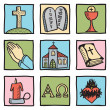 Set of christianity symbols - Stockvectorbeeld