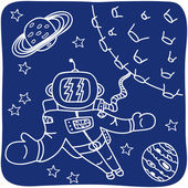 Drawing of an astronaut and planets — Stock Vector
