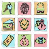 Sicurezza e hacker icone — Vettoriale Stock