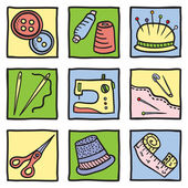Sewing stuff and tools — Stock Vector