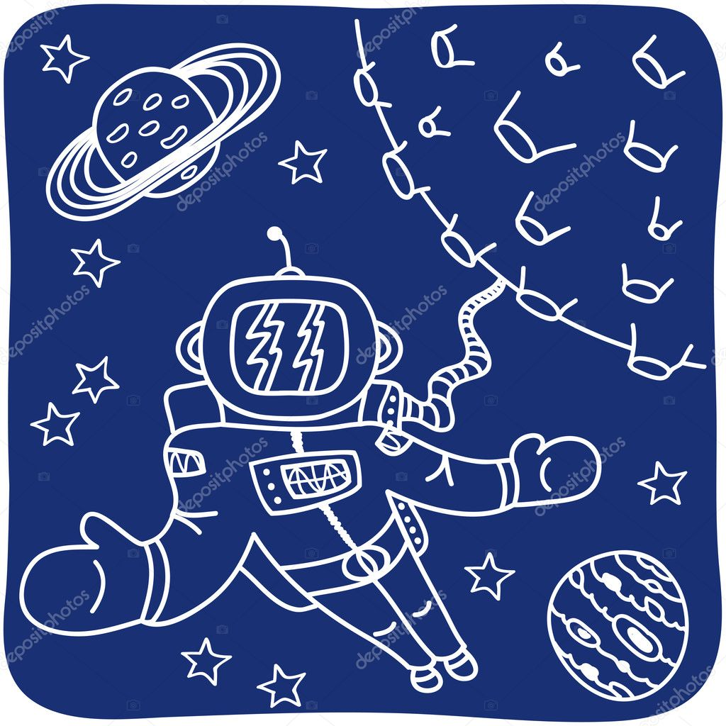 Drawing of an astronaut and planets - illustration — Stock Vector #11800183