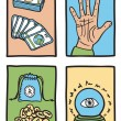 Stock Vector: Various types of fortune telling