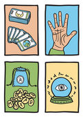 Various types of fortune telling — Stock Vector