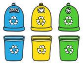 Set of recycle trash bins — Stock Vector
