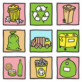 Set of recycling icons — Stock Vector