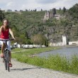Woman on bike — Foto Stock
