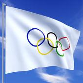 Olympiska flaggan — Stockfoto
