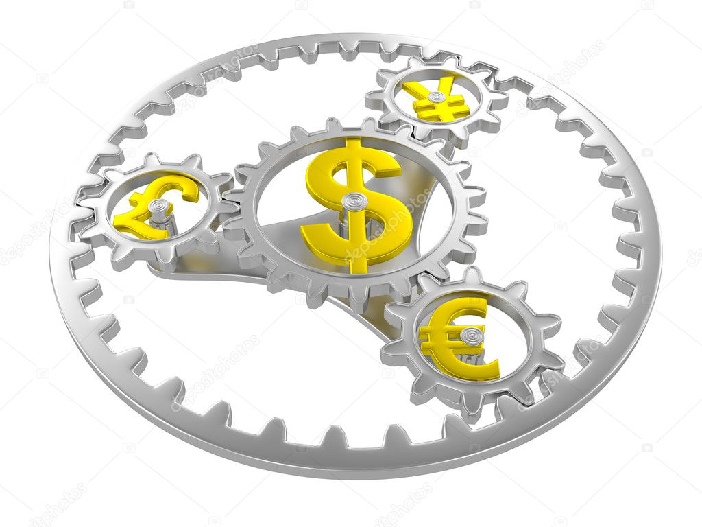 Gears with dollar, pound, yen and euro signs. 3d render — Stock Photo #11272211