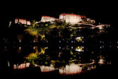 Rear of Potala Palace reflected in Water Night — Stock Photo