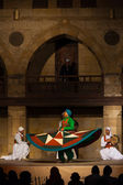 Green Sufi Dancer Spinning Traditional Dance — Stock Photo